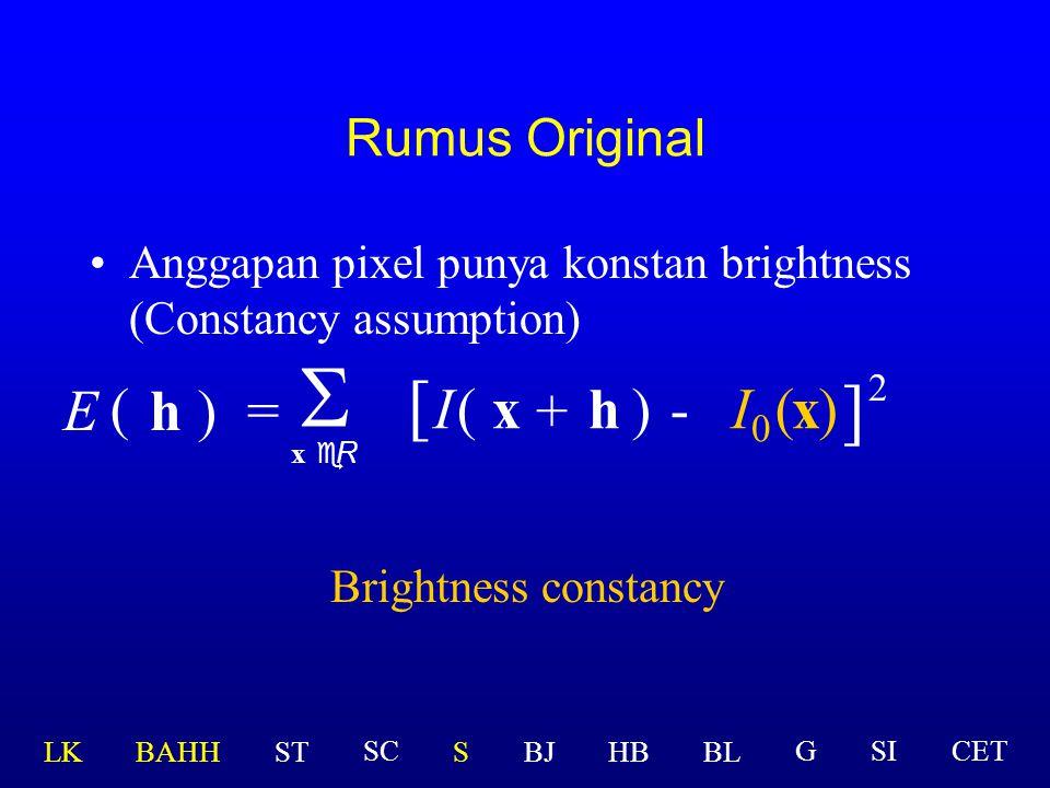 Rumus Original h)=  x eR ( E [ I(x )-(x ] 2 ) + h  I 
