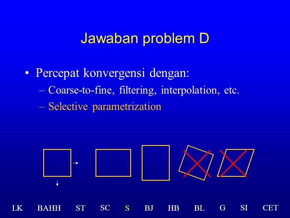 Percepat konvergensi dengan: –Coarse-to-fine, filtering, interpolation, etc. LK BAHHSTSBJHBBL GSICETSC Jawaban problem D