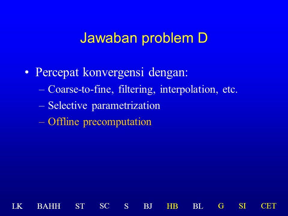 Percepat konvergensi dengan: –Coarse-to-fine, filtering, interpolation, etc. –Selective parametrization Jawaban problem D LK BAHHSTSBJHBBL GSICETSC
