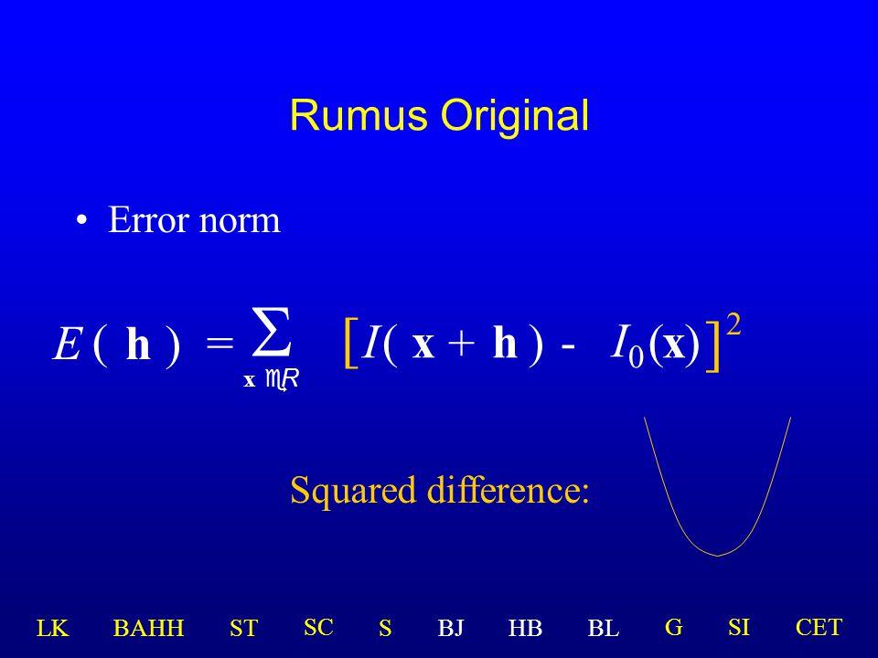 Generalisasi metode Lucas-Kanade  x eR [ I(x )-(x ] 2 ) + h  I  Modifikasi yg. Dibuat selama ini adalah: