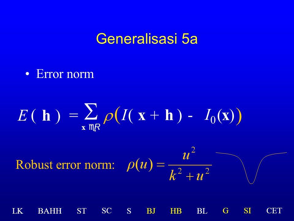 Permasalahan E Permasalahan dengan ourliers? >> Gunakan robust norm