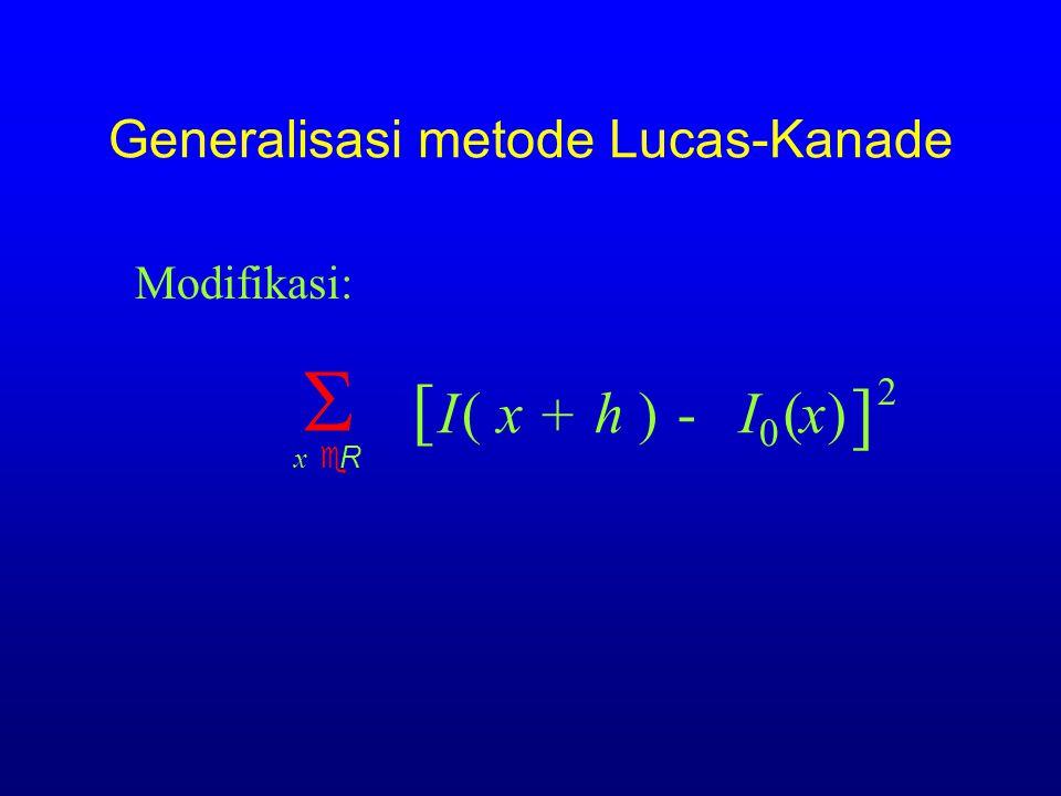 Generalisasi 6b Image region / pixel weighting h)=  x eR ( E [ I(x )-  I  (x ] 2 ) + h Weighted sum: w(x)w(x) LK BAHHSTSBJHBBL GSICETSC