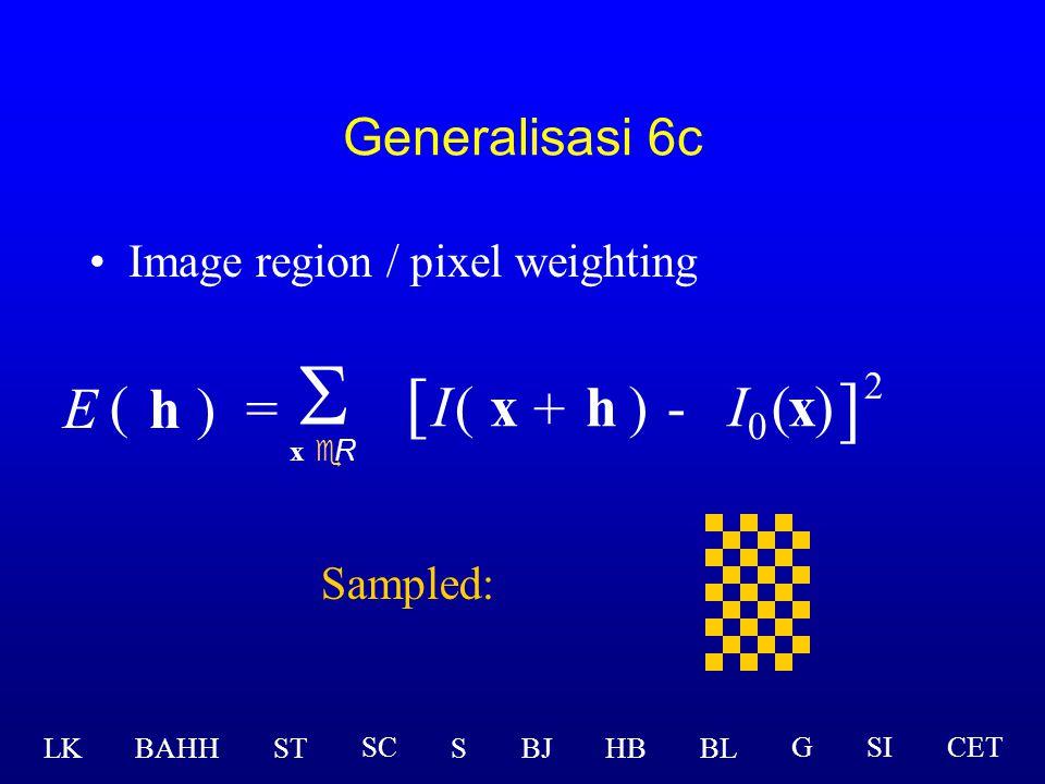 Generalisasi metode Lucas-Kanade  x eR [ I(x )-(x ] 2 ) + h  I  Modifikasi: