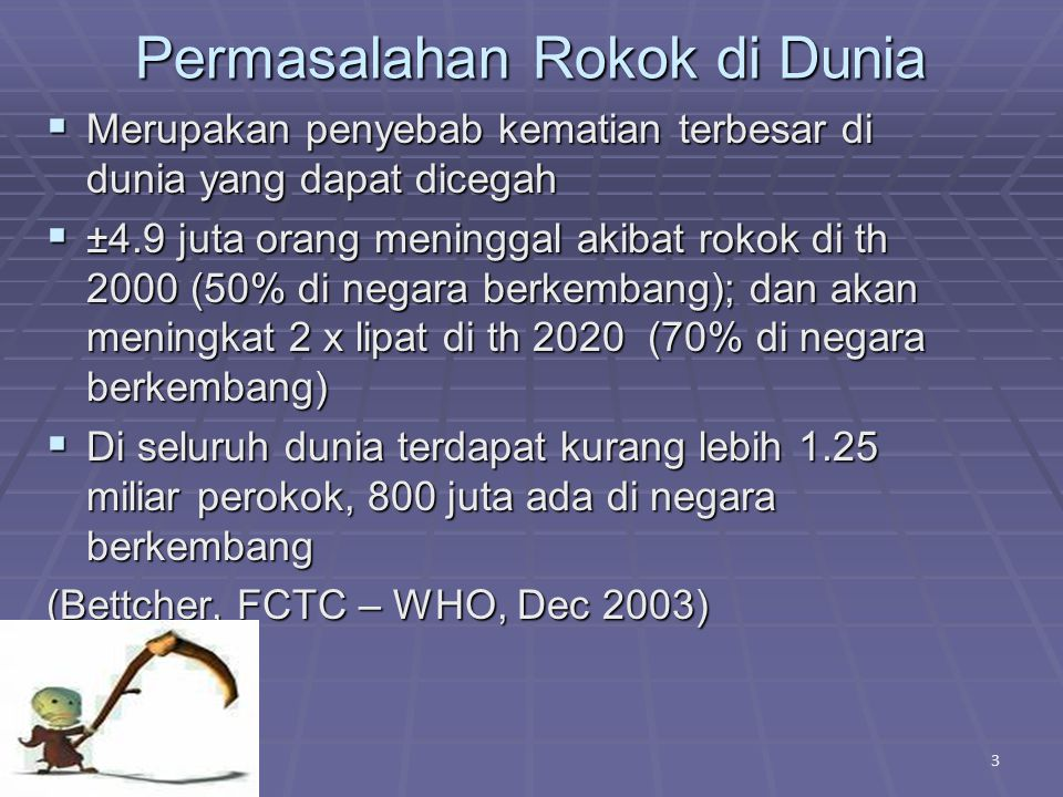 Data Rokok di Indonesia  Hampir 70% pria Indonesia merokok 1  Total perokok di Indonesia berjumlah 62.800.000 2  70% perokok mulai merokok sebelum usia 19 tahun 3,4  12,77 % sudah merokok sejak SD 3,4 4 2.