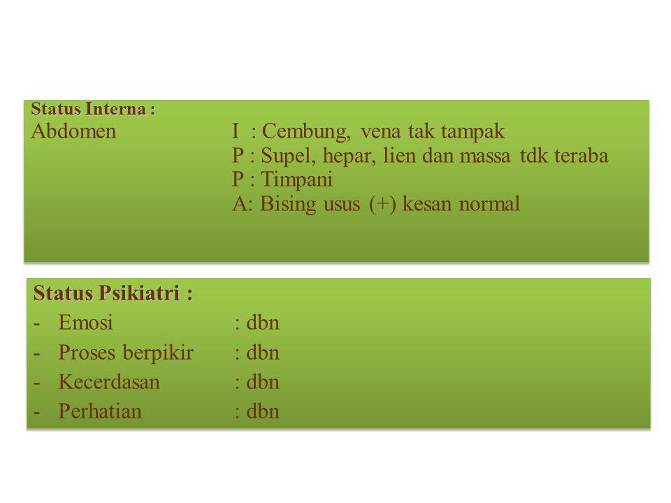 Status Interna : AbdomenI : Cembung, vena tak tampak P : Supel, hepar, lien dan massa tdk teraba P : Timpani A: Bising usus (+) kesan normal Status In