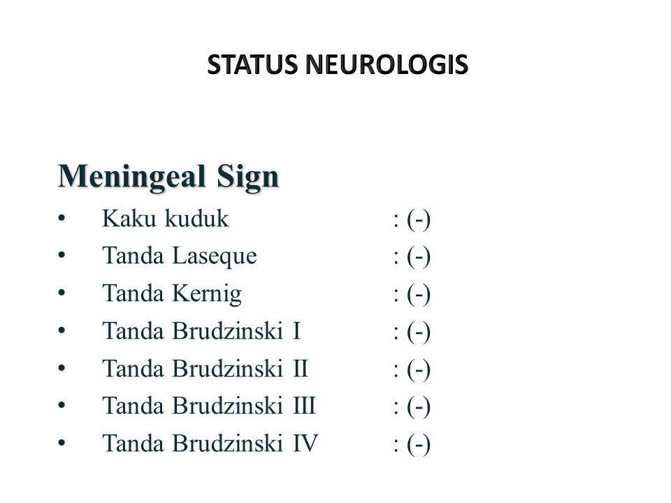 Meningeal Sign Kaku kuduk: (-) Tanda Laseque: (-) Tanda Kernig: (-) Tanda Brudzinski I: (-) Tanda Brudzinski II: (-) Tanda Brudzinski III: (-) Tanda Brudzinski IV: (-)
