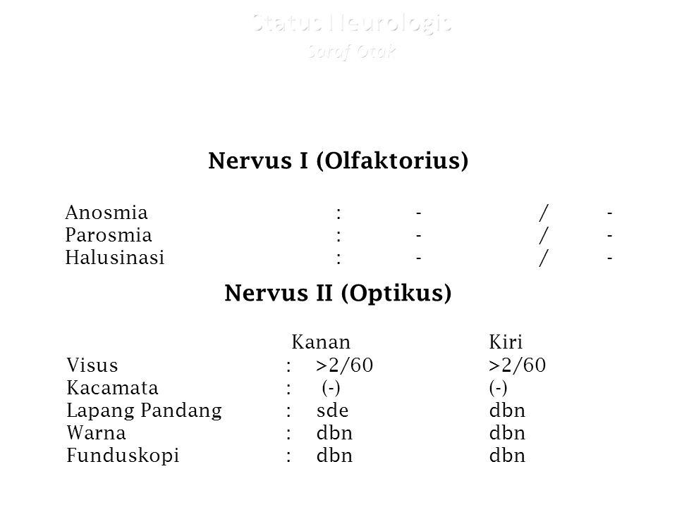 Nervus I (Olfaktorius) Anosmia : -/- Parosmia: -/- Halusinasi: -/- Nervus II (Optikus) KananKiri Visus: >2/60>2/60 Kacamata: (-)(-) Lapang Pandang: sdedbn Warna: dbndbn Funduskopi: dbndbn
