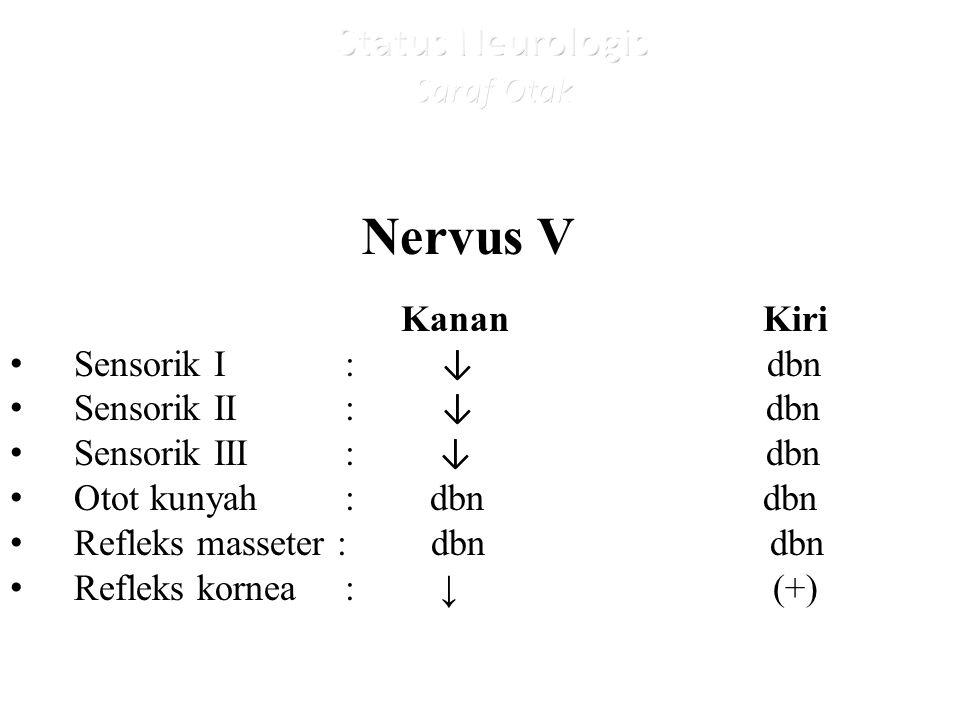 Nervus V Kanan Kiri Sensorik I : ↓ dbn Sensorik II : ↓ dbn Sensorik III : ↓ dbn Otot kunyah : dbn dbn Refleks masseter : dbn dbn Refleks kornea : ↓ (+)