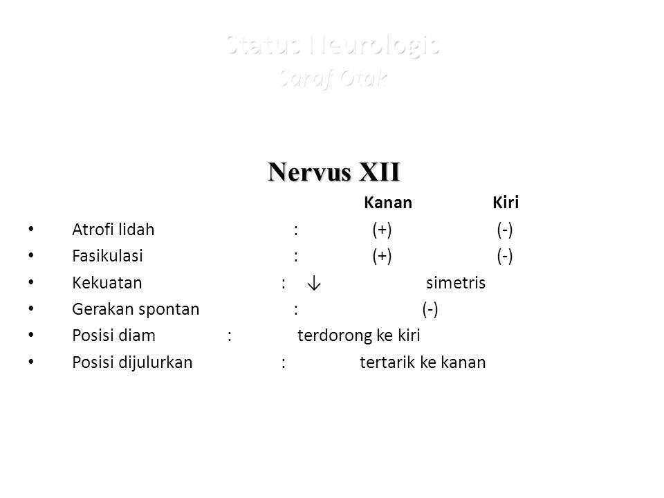 Nervus XII KananKiri Atrofi lidah: (+) (-) Fasikulasi : (+) (-) Kekuatan : ↓simetris Gerakan spontan : (-) Posisi diam: terdorong ke kiri Posisi dijulurkan : tertarik ke kanan