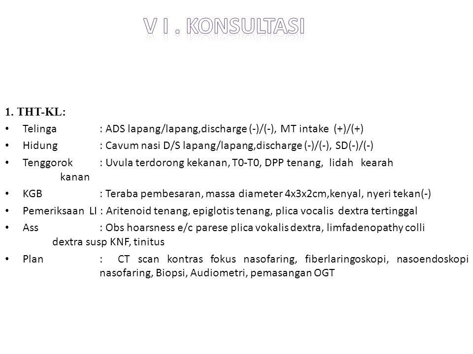 1. THT-KL: Telinga: ADS lapang/lapang,discharge (-)/(-), MT intake (+)/(+) Hidung : Cavum nasi D/S lapang/lapang,discharge (-)/(-), SD(-)/(-) Tenggoro