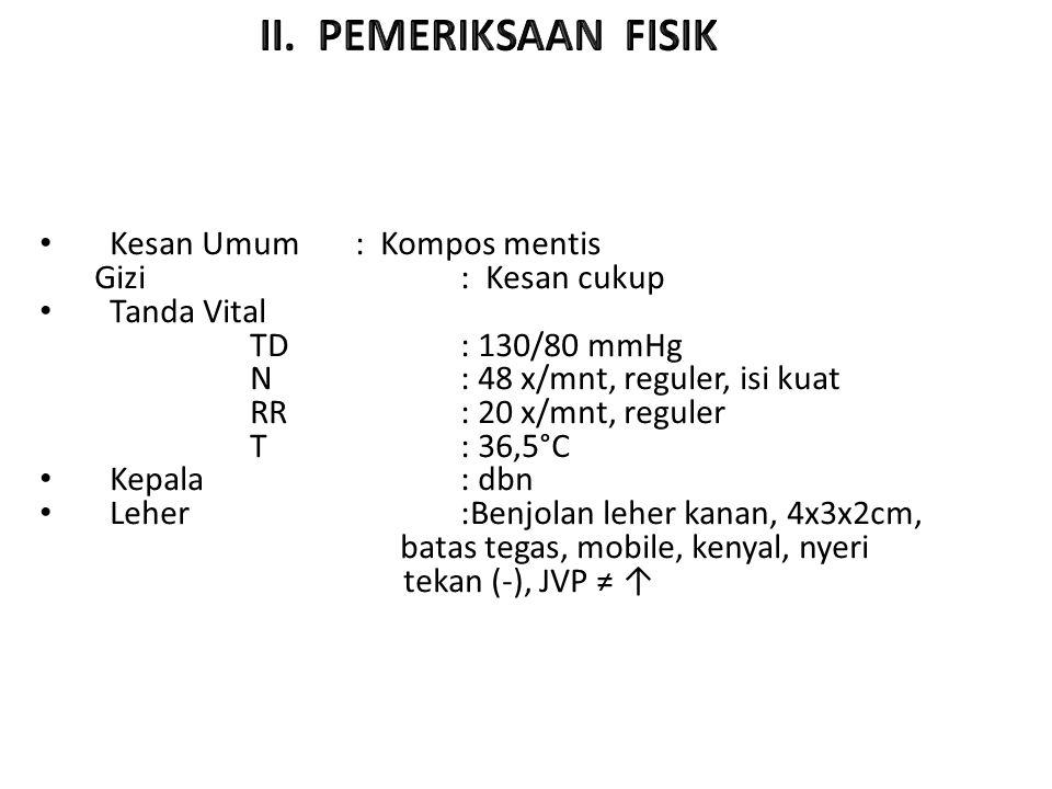 Status Interna : Kesan Umum : Kompos mentis Gizi : Kesan cukup Tanda Vital TD : 130/80 mmHg N : 48 x/mnt, reguler, isi kuat RR : 20 x/mnt, reguler T : 36,5°C Kepala: dbn Leher:Benjolan leher kanan, 4x3x2cm, batas tegas, mobile, kenyal, nyeri tekan (-), JVP ≠ ↑