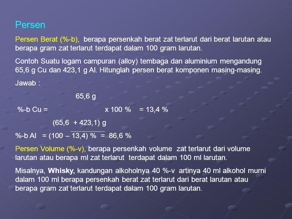 Persen Persen Berat (%-b), berapa persenkah berat zat terlarut dari berat larutan atau berapa gram zat terlarut terdapat dalam 100 gram larutan. Conto