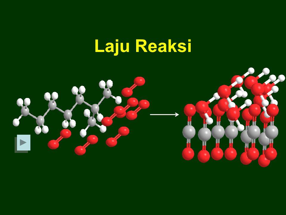 Suhu Kenaikan suhu dapat mempercepat laju reaksi karena dengan naiknya suhu energi kinetik partikel zat-zat meningkat sehingga memungkinkan semakin banyaknya tumbukan efektif yang menghasilkan perubahan HCl (aq) + Na 2 S 2 O 3 (aq)