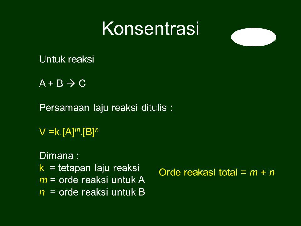 Untuk reaksi A + B  C Persamaan laju reaksi ditulis : V =k.[A] m.[B] n Dimana : k = tetapan laju reaksi m = orde reaksi untuk A n = orde reaksi untuk B Orde reakasi total = m + n Konsentrasi