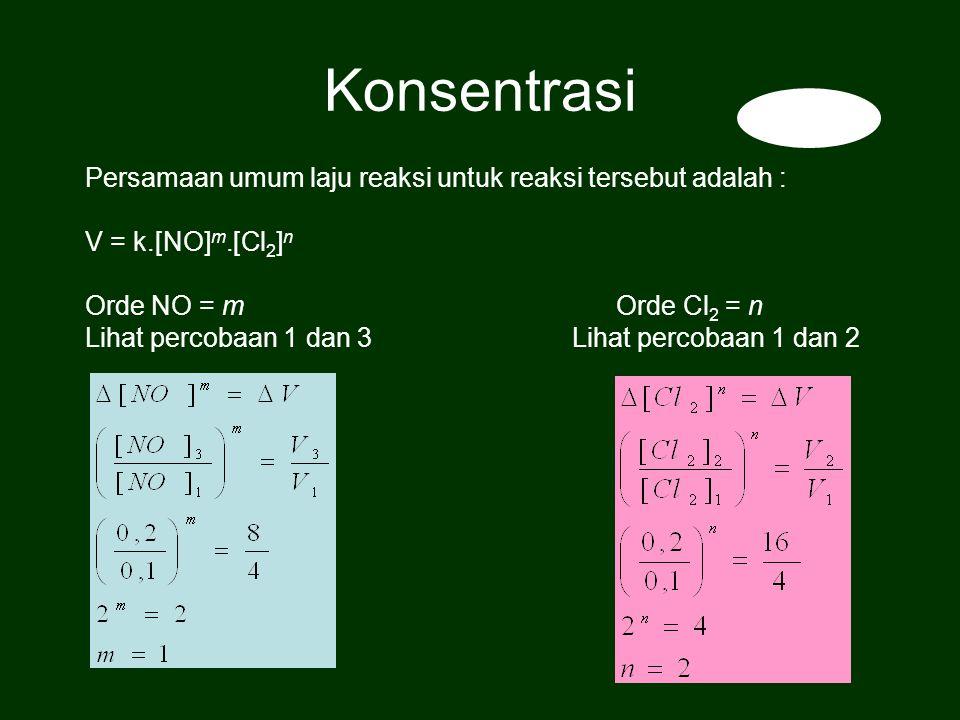 Persamaan umum laju reaksi untuk reaksi tersebut adalah : V = k.[NO] m.[Cl 2 ] n Orde NO = m Orde Cl 2 = n Lihat percobaan 1 dan 3 Lihat percobaan 1 dan 2 Konsentrasi