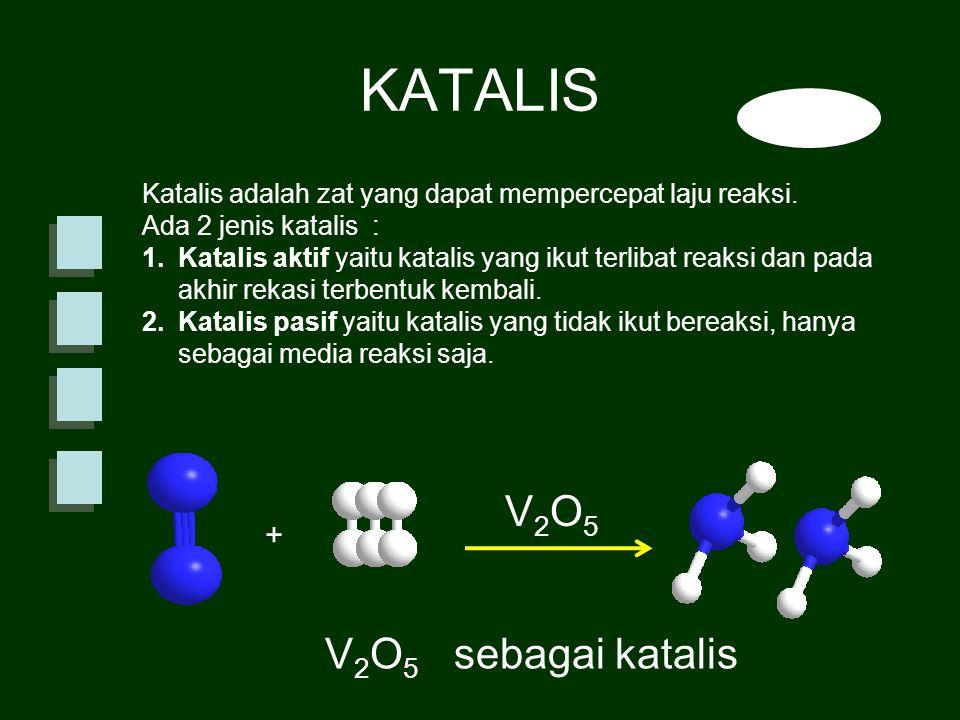Katalis adalah zat yang dapat mempercepat laju reaksi. Ada 2 jenis katalis : 1.Katalis aktif yaitu katalis yang ikut terlibat reaksi dan pada akhir re