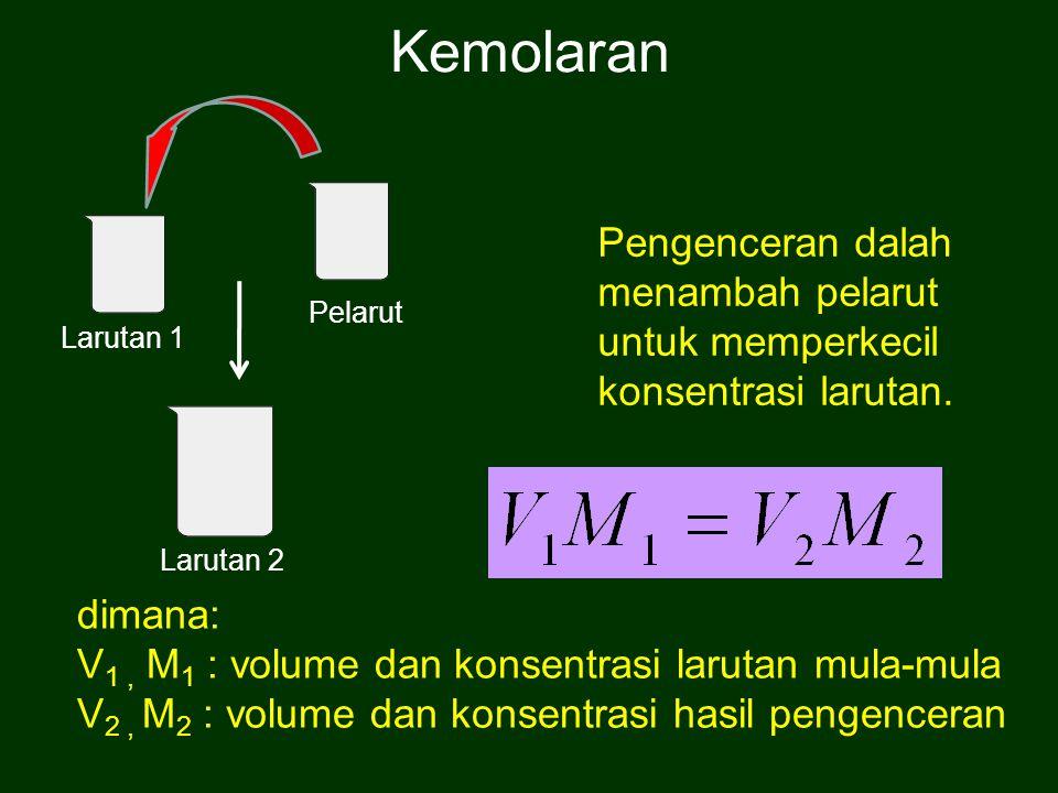 Pengenceran dalah menambah pelarut untuk memperkecil konsentrasi larutan. dimana: V 1, M 1 : volume dan konsentrasi larutan mula-mula V 2, M 2 : volum