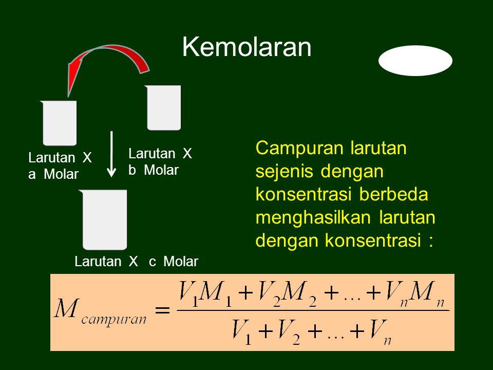 Campuran larutan sejenis dengan konsentrasi berbeda menghasilkan larutan dengan konsentrasi : Kemolaran Larutan X a Molar Larutan X c Molar Larutan X b Molar