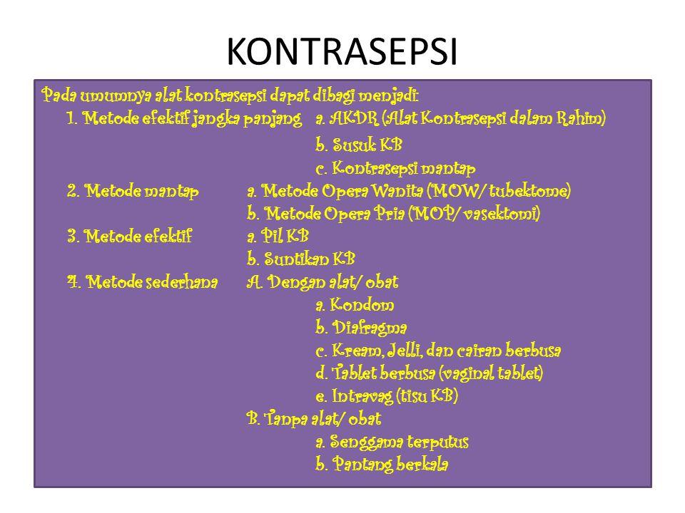 KONTRASEPSI Pada umumnya alat kontrasepsi dapat dibagi menjadi: 1.