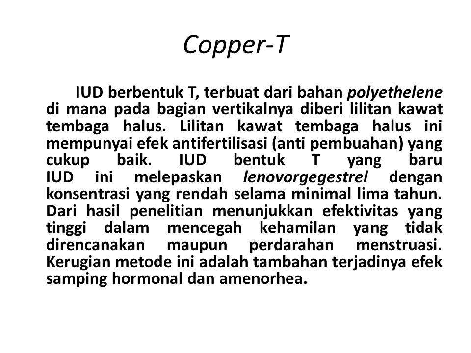 Copper-T IUD berbentuk T, terbuat dari bahan polyethelene di mana pada bagian vertikalnya diberi lilitan kawat tembaga halus.