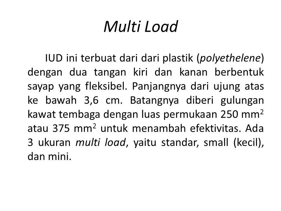 Multi Load IUD ini terbuat dari dari plastik (polyethelene) dengan dua tangan kiri dan kanan berbentuk sayap yang fleksibel.