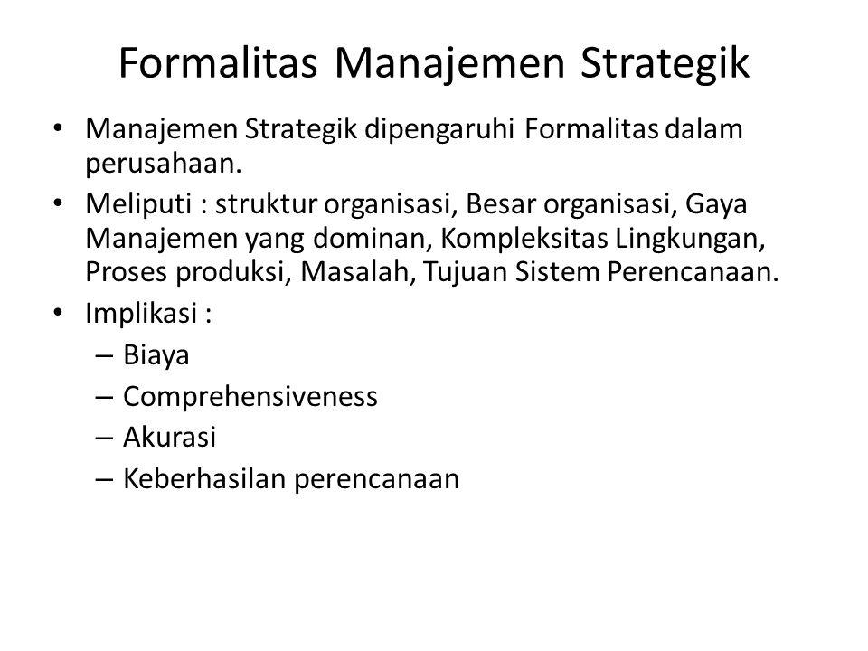 Formalitas Manajemen Strategik Manajemen Strategik dipengaruhi Formalitas dalam perusahaan. Meliputi : struktur organisasi, Besar organisasi, Gaya Man