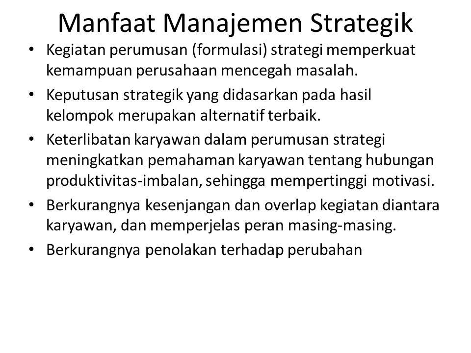 Manfaat Manajemen Strategik Kegiatan perumusan (formulasi) strategi memperkuat kemampuan perusahaan mencegah masalah. Keputusan strategik yang didasar