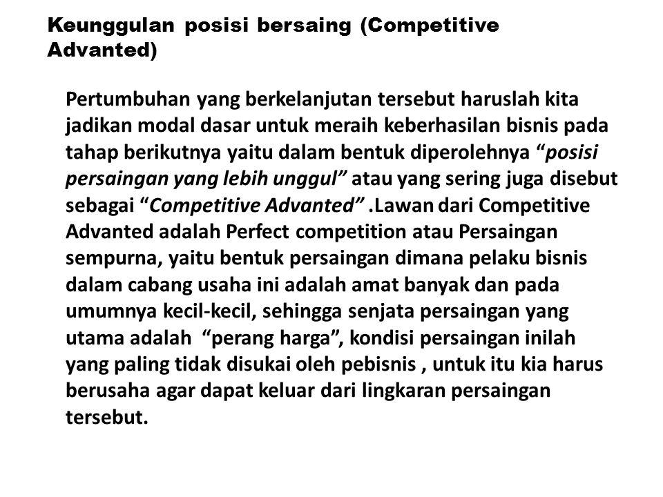 Keunggulan posisi bersaing (Competitive Advanted) Pertumbuhan yang berkelanjutan tersebut haruslah kita jadikan modal dasar untuk meraih keberhasilan