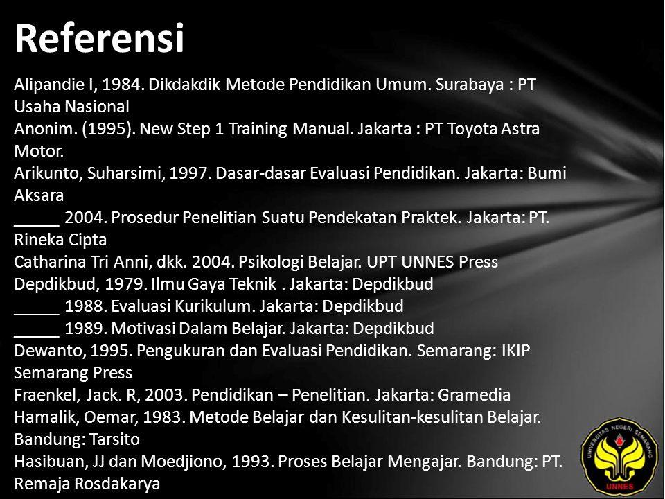 Referensi Alipandie I, 1984. Dikdakdik Metode Pendidikan Umum. Surabaya : PT Usaha Nasional Anonim. (1995). New Step 1 Training Manual. Jakarta : PT T