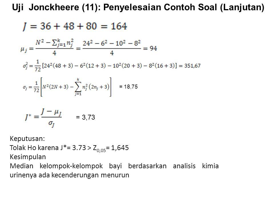 Uji Jonckheere (11): Penyelesaian Contoh Soal (Lanjutan) Keputusan: Tolak Ho karena J*= 3.73 > Z 0,05 = 1,645 Kesimpulan Median kelompok-kelompok bayi