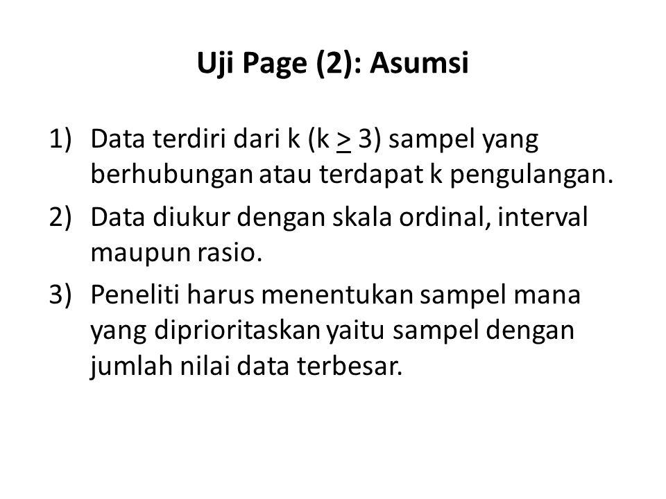 Uji Page (2): Asumsi 1)Data terdiri dari k (k > 3) sampel yang berhubungan atau terdapat k pengulangan. 2)Data diukur dengan skala ordinal, interval m