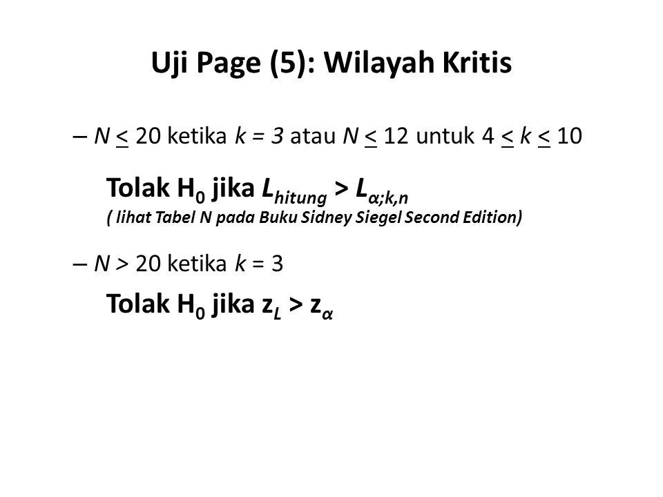 Uji Page (5): Wilayah Kritis – N < 20 ketika k = 3 atau N < 12 untuk 4 < k < 10 Tolak H 0 jika L hitung > L α;k,n ( lihat Tabel N pada Buku Sidney Sie