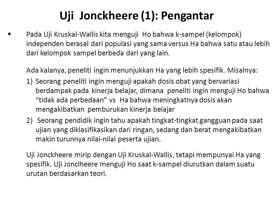 Uji Jonckheere (1): Pengantar  Pada Uji Kruskal-Wallis kita menguji Ho bahwa k-sampel (kelompok) independen berasal dari populasi yang sama versus Ha