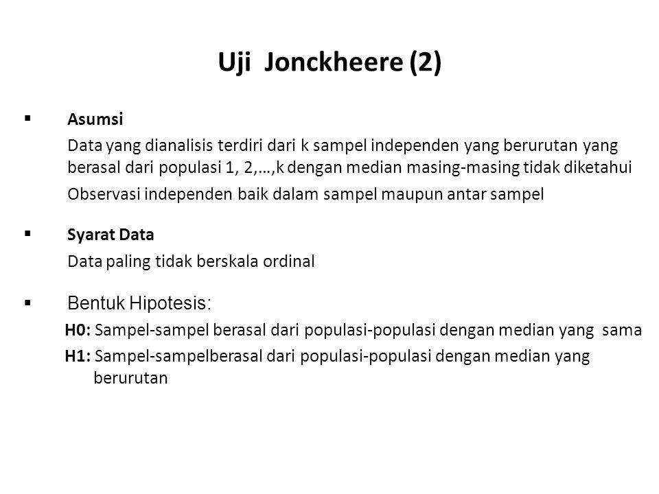 Uji Jonckheere (2)  Asumsi Data yang dianalisis terdiri dari k sampel independen yang berurutan yang berasal dari populasi 1, 2,…,k dengan median mas