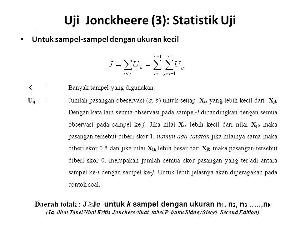 Untuk sampel-sampel dengan ukuran kecil Uji Jonckheere (3): Statistik Uji K : Banyak sampel yang digunakan U ij : Jumlah pasangan obeservasi (a, b) un