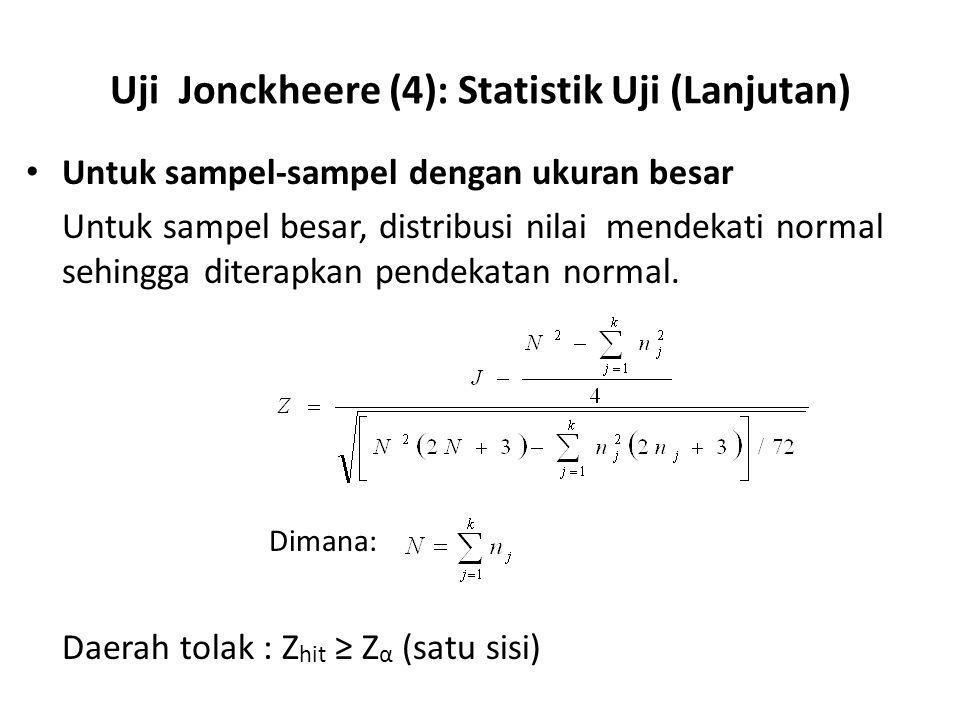 Uji Jonckheere (4): Statistik Uji (Lanjutan) Untuk sampel-sampel dengan ukuran besar Untuk sampel besar, distribusi nilai mendekati normal sehingga di