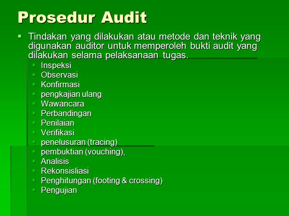 Prosedur Audit  Tindakan yang dilakukan atau metode dan teknik yang digunakan auditor untuk memperoleh bukti audit yang dilakukan selama pelaksanaan