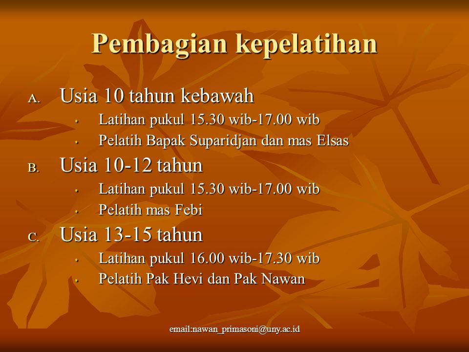 Pembagian kepelatihan A. Usia 10 tahun kebawah Latihan pukul 15.30 wib-17.00 wib Latihan pukul 15.30 wib-17.00 wib Pelatih Bapak Suparidjan dan mas El