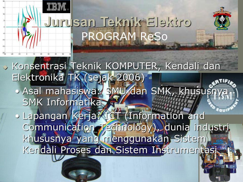  Konsentrasi Teknik KOMPUTER, Kendali dan Elektronika TK (sejak 2006) Asal mahasiswa: SMU dan SMK, khususnya SMK InformatikaAsal mahasiswa: SMU dan S