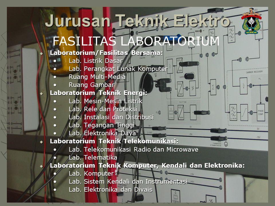 Jurusan Teknik Elektro FASILITAS LABORATORIUM  Laboratorium/Fasilitas Bersama: Lab. Listrik DasarLab. Listrik Dasar Lab. Perangkat Lunak KomputerLab.