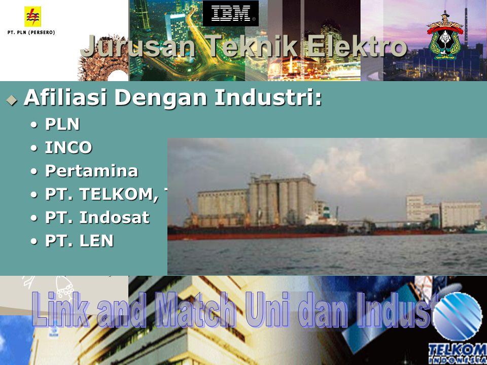  Afiliasi Dengan Industri: PLNPLN INCOINCO PertaminaPertamina PT. TELKOM, TbkPT. TELKOM, Tbk PT. IndosatPT. Indosat PT. LENPT. LEN
