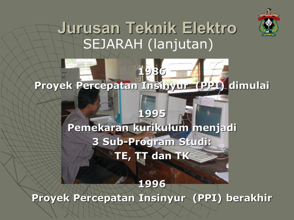 Jurusan Teknik Elektro 1986 Proyek Percepatan Insinyur (PPI) dimulai 1995 Pemekaran kurikulum menjadi 3 Sub-Program Studi: TE, TT dan TK 1996 Proyek P