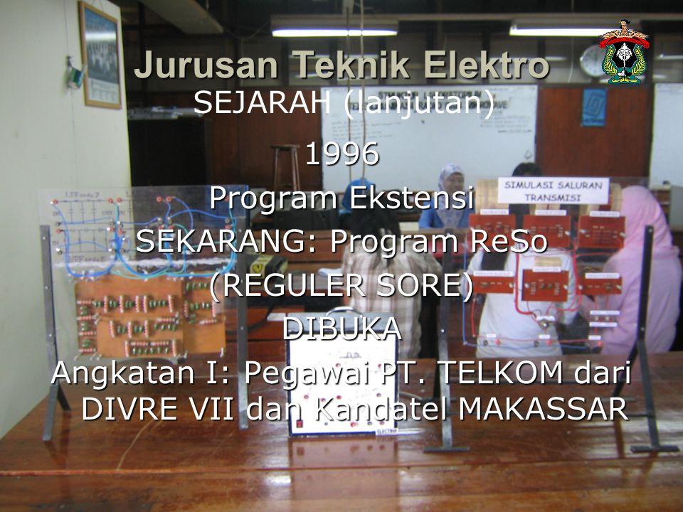 1996 Program Ekstensi SEKARANG: Program ReSo (REGULER SORE) DIBUKA Angkatan I: Pegawai PT. TELKOM dari DIVRE VII dan Kandatel MAKASSAR Jurusan Teknik