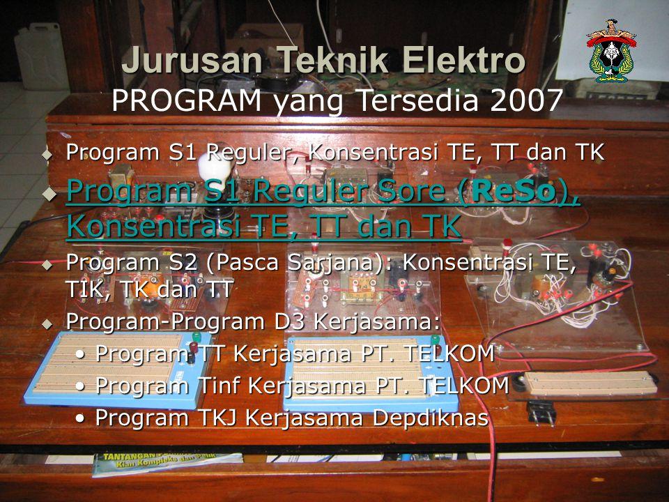  Program S1 Reguler, Konsentrasi TE, TT dan TK  Program S1 Reguler Sore (ReSo), Konsentrasi TE, TT dan TK Program S1 Reguler Sore (ReSo), Konsentras