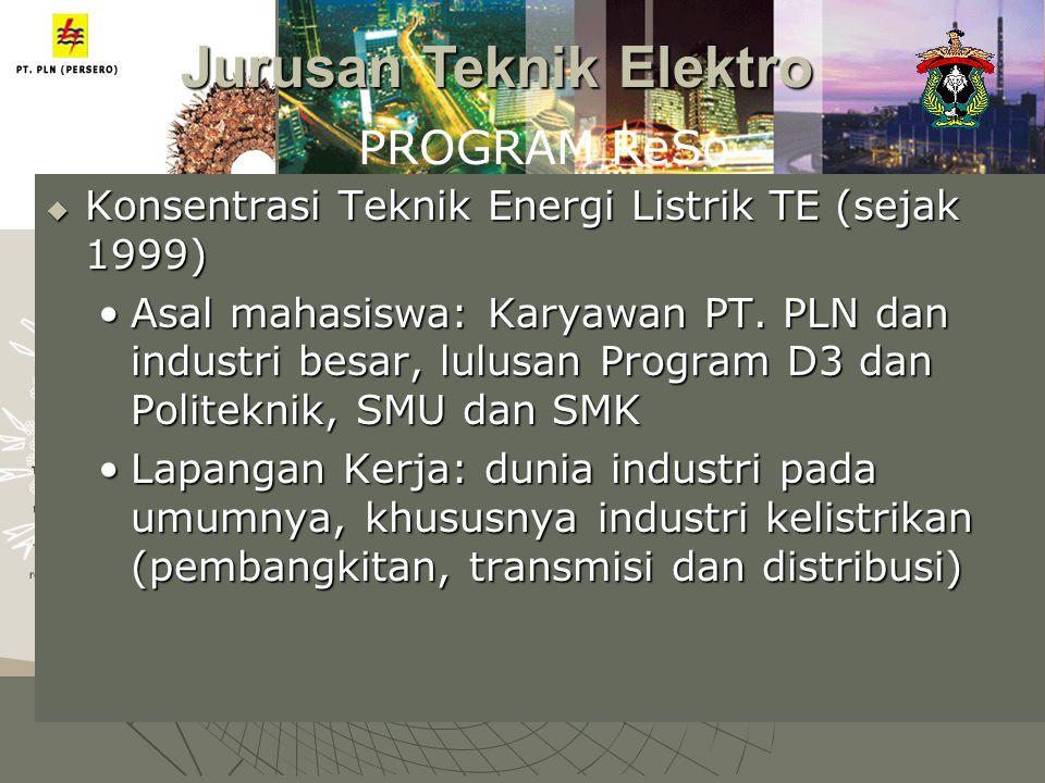  Konsentrasi Teknik Energi Listrik TE (sejak 1999) Asal mahasiswa: Karyawan PT. PLN dan industri besar, lulusan Program D3 dan Politeknik, SMU dan SM