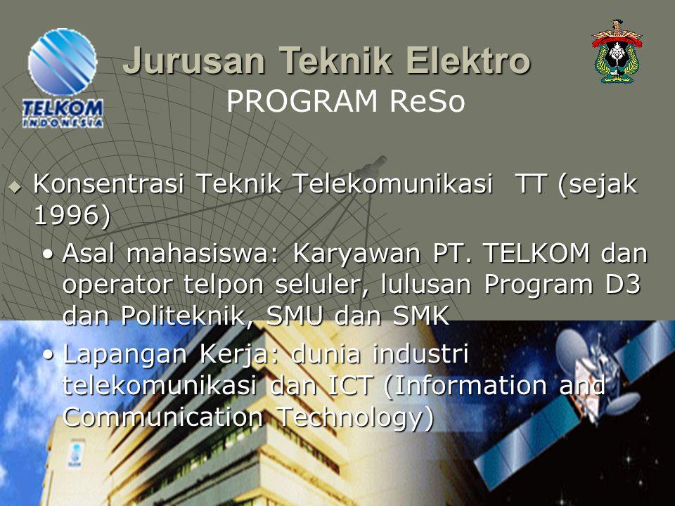  Konsentrasi Teknik Telekomunikasi TT (sejak 1996) Asal mahasiswa: Karyawan PT. TELKOM dan operator telpon seluler, lulusan Program D3 dan Politeknik