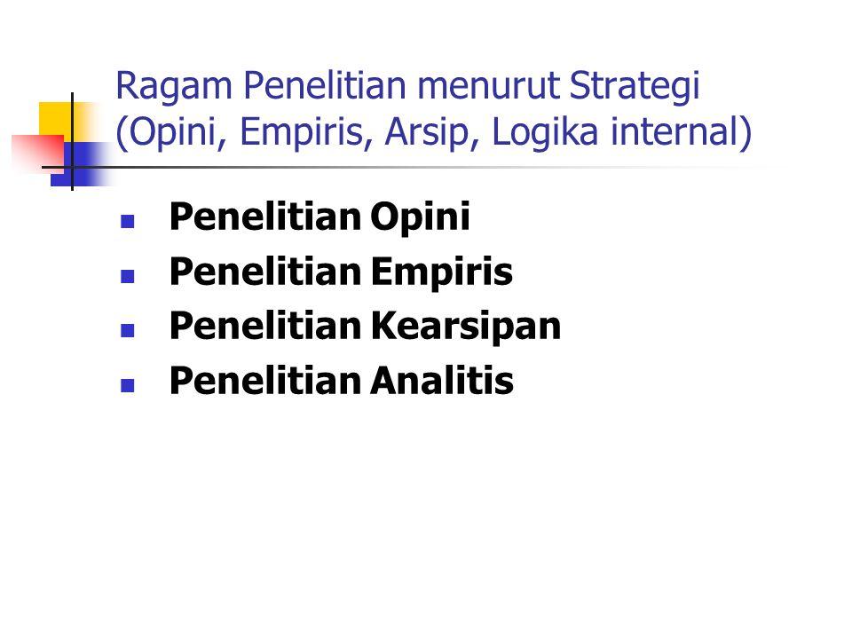 Ragam Penelitian menurut Strategi (Opini, Empiris, Arsip, Logika internal) Penelitian Opini Penelitian Empiris Penelitian Kearsipan Penelitian Analitis