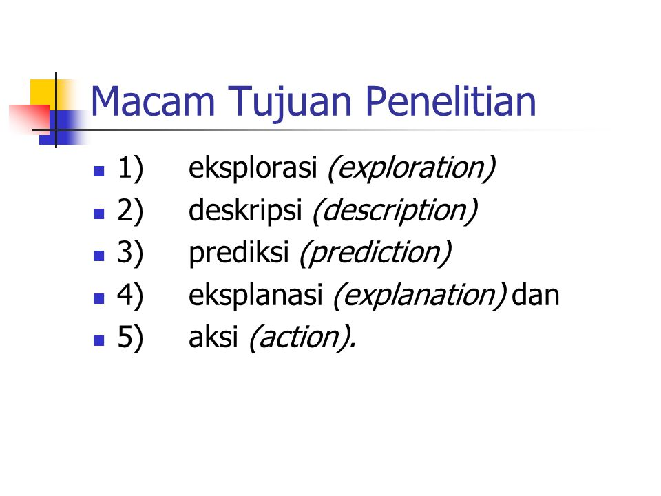 Macam Tujuan Penelitian 1) eksplorasi (exploration) 2) deskripsi (description) 3) prediksi (prediction) 4) eksplanasi (explanation) dan 5) aksi (actio