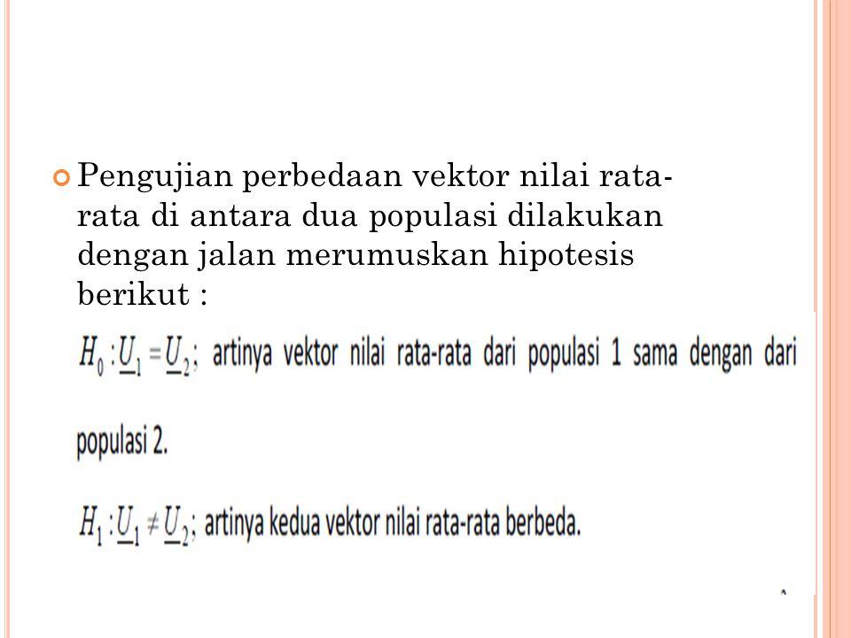 Pengujian perbedaan vektor nilai rata- rata di antara dua populasi dilakukan dengan jalan merumuskan hipotesis berikut :