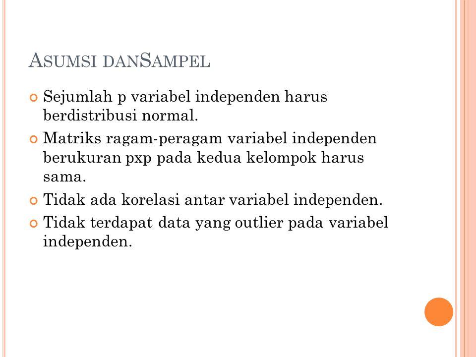 A SUMSI DAN S AMPEL Sejumlah p variabel independen harus berdistribusi normal.